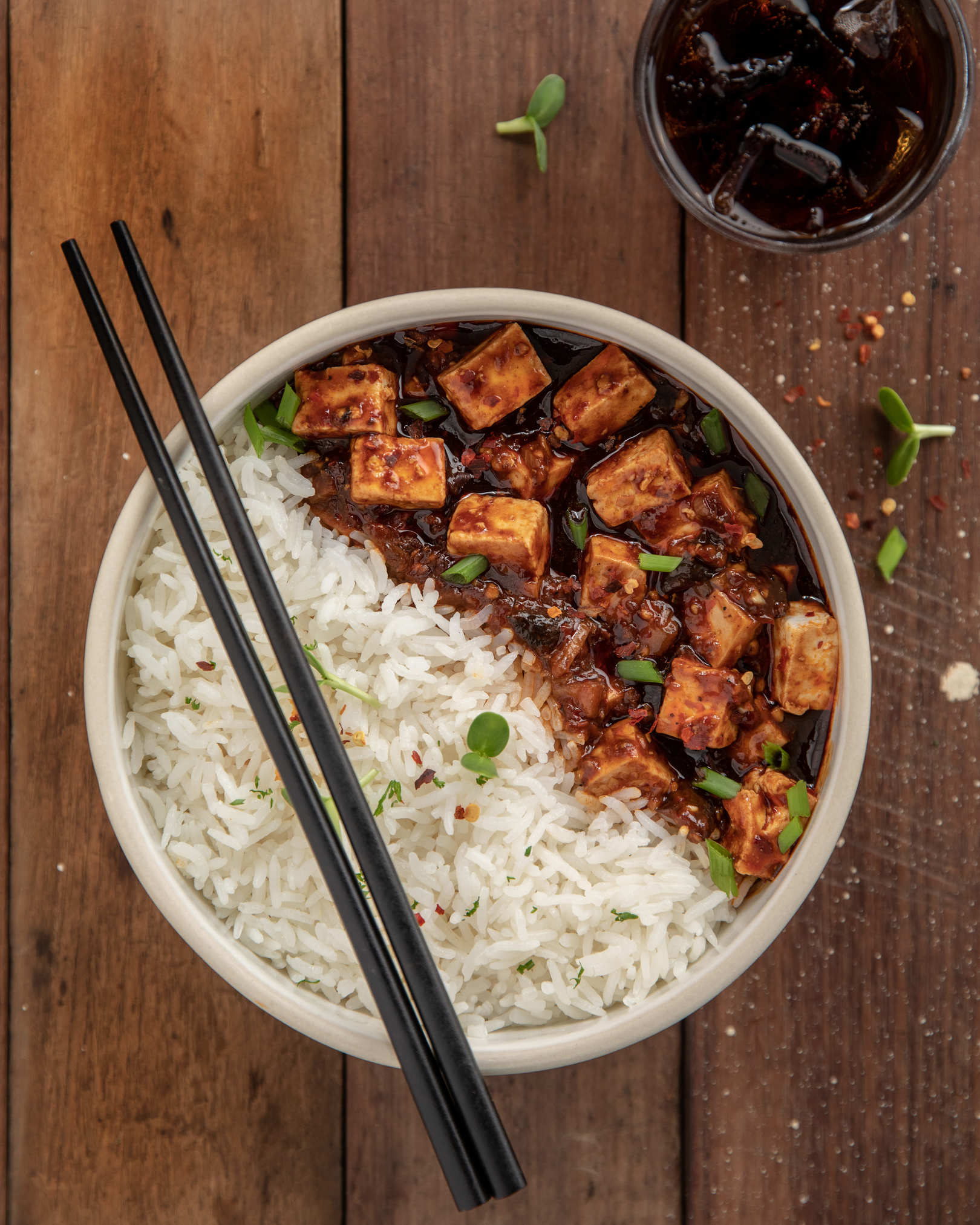 Mapo Tofu, Steamed Rice